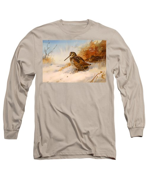 Winter Woodcock Long Sleeve T-Shirt by Mountain Dreams