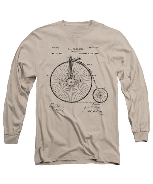 1881 Velocipede Bicycle Patent Artwork - Vintage Long Sleeve T-Shirt by Nikki Marie Smith