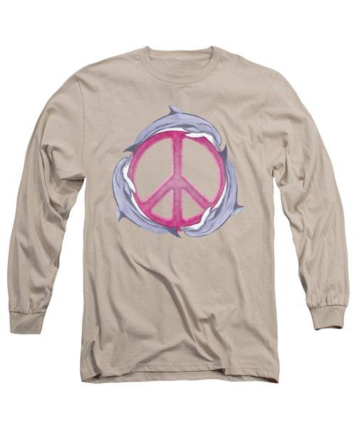 Dolphin Peace Pink Long Sleeve T-Shirt by Chris MacDonald