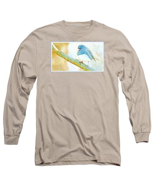 Long Sleeve T-Shirt featuring the digital art Slate Colored Junco Snowbird Male Animal Portrait by A Gurmankin