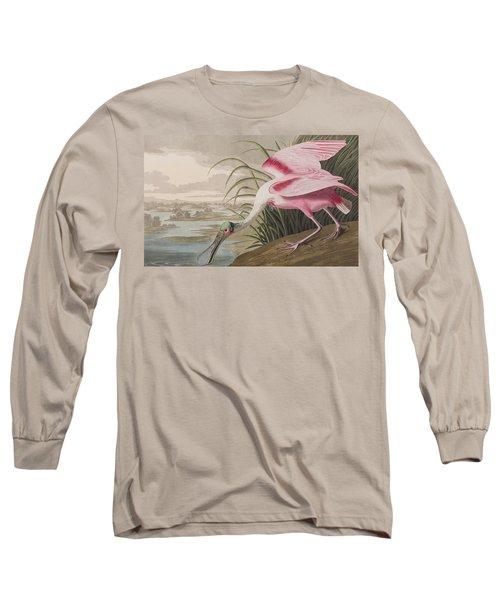 Roseate Spoonbill Long Sleeve T-Shirt by John James Audubon