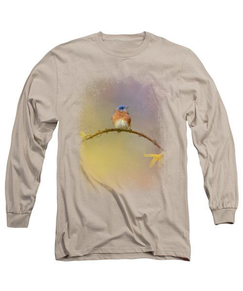 A Little Blue In The Garden Long Sleeve T-Shirt by Jai Johnson
