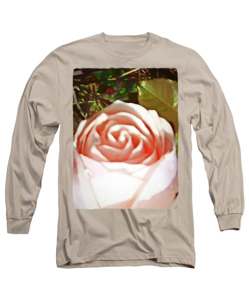 A Pale Pink Rosebud Long Sleeve T-Shirt by Jackie VanO