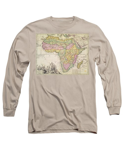 Antique Map Of Africa Long Sleeve T-Shirt by Pieter Schenk