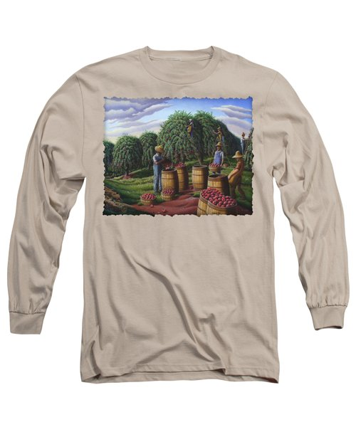 Apple Harvest - Autumn Farmers Orchard Farm Landscape - Folk Art Americana Long Sleeve T-Shirt by Walt Curlee