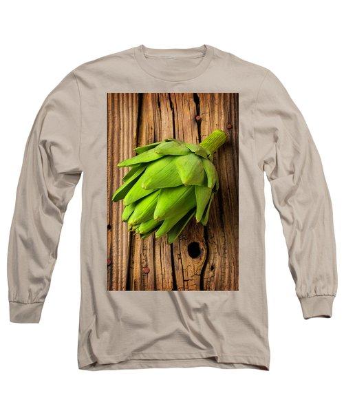Artichoke On Old Wooden Board Long Sleeve T-Shirt by Garry Gay