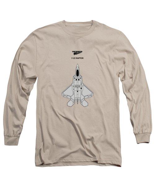 F-22 Raptor - White Long Sleeve T-Shirt by Mark Rogan
