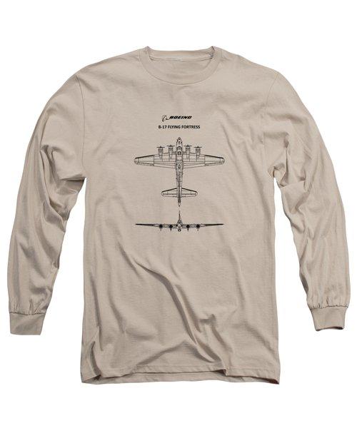 B-17 Flying Fortress Long Sleeve T-Shirt by Mark Rogan