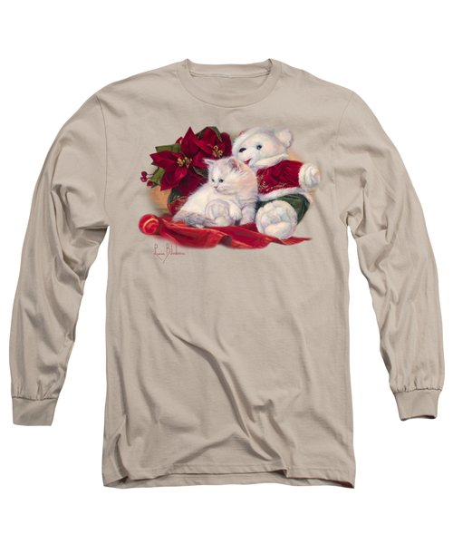 Christmas Kitten Long Sleeve T-Shirt by Lucie Bilodeau