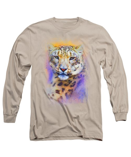 Colorful Expressions Snow Leopard Long Sleeve T-Shirt by Jai Johnson