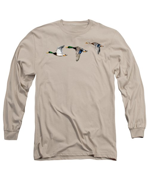 Flying Mallards Long Sleeve T-Shirt by Sarah Batalka