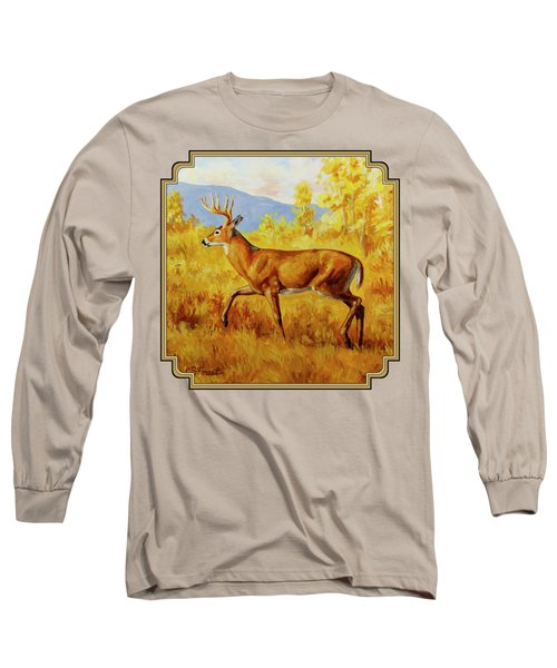 Whitetail Deer In Aspen Woods Long Sleeve T-Shirt by Crista Forest