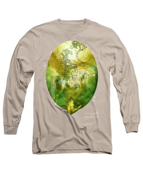 Unicorn Of The Forest  Long Sleeve T-Shirt by Carol Cavalaris