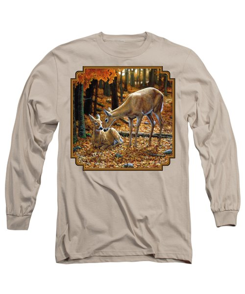 Whitetail Deer - Autumn Innocence 2 Long Sleeve T-Shirt by Crista Forest