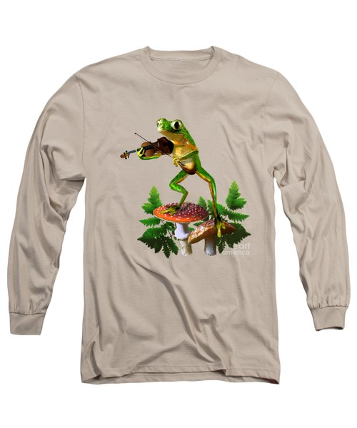 Humorous Tree Frog Playing A Fiddle Long Sleeve T-Shirt by Regina Femrite