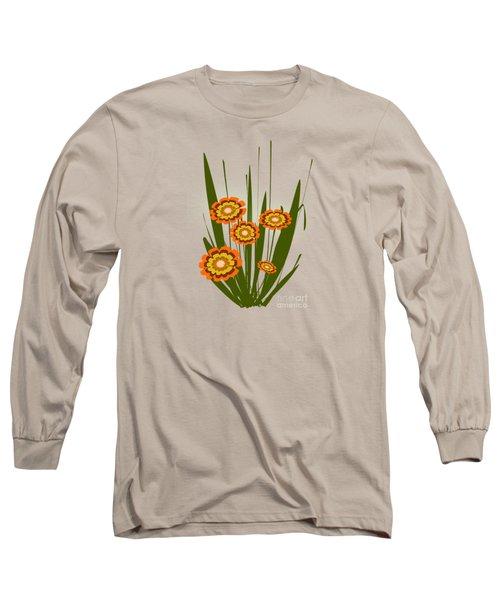 Orange Flowers Long Sleeve T-Shirt by Anastasiya Malakhova