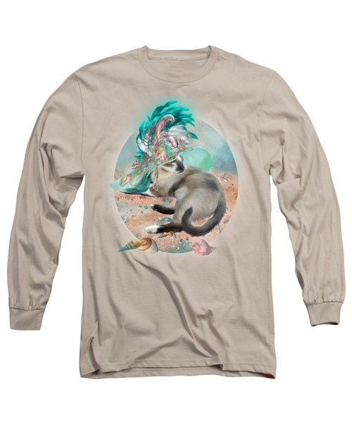 Cat In Summer Beach Hat Long Sleeve T-Shirt by Carol Cavalaris