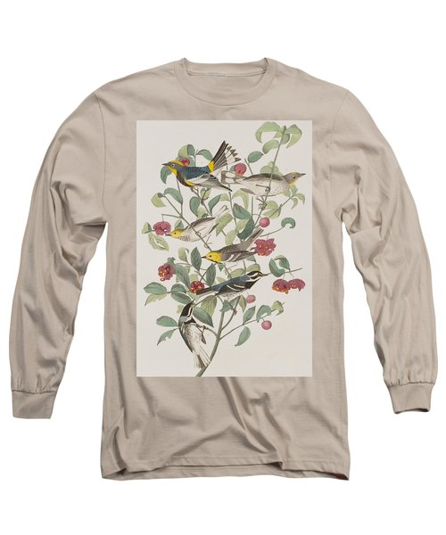 Audubons Warbler Hermit Warbler Black-throated Gray Warbler Long Sleeve T-Shirt by John James Audubon