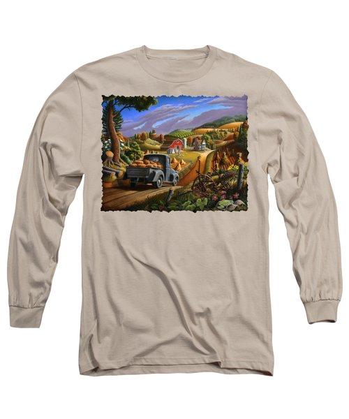 Autumn Appalachia Thanksgiving Pumpkins Rural Country Farm Landscape - Folk Art - Fall Rustic Long Sleeve T-Shirt by Walt Curlee