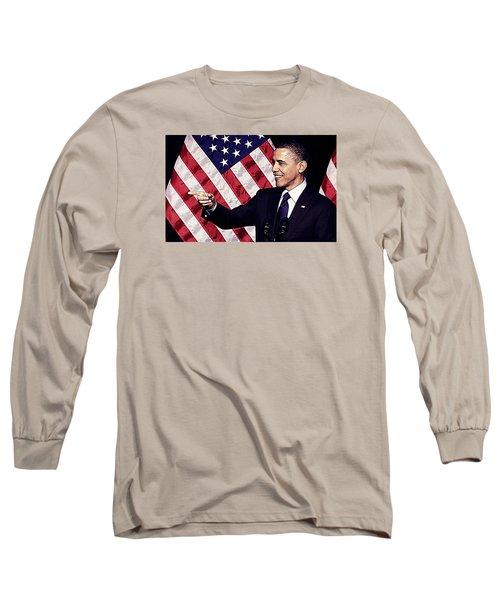 Barack Obama Long Sleeve T-Shirt by Iguanna Espinosa