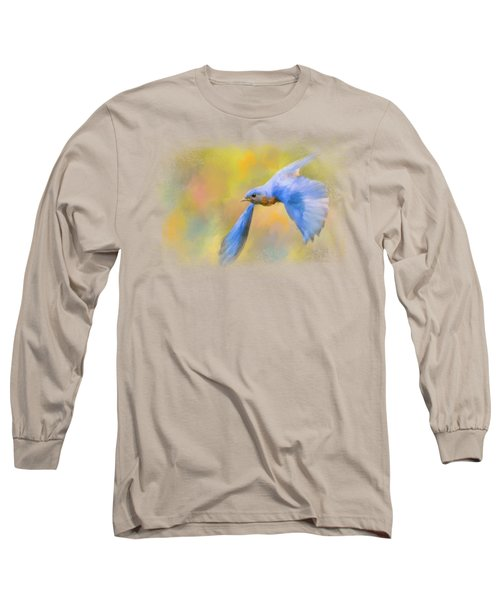 Bluebird Spring Flight Long Sleeve T-Shirt by Jai Johnson