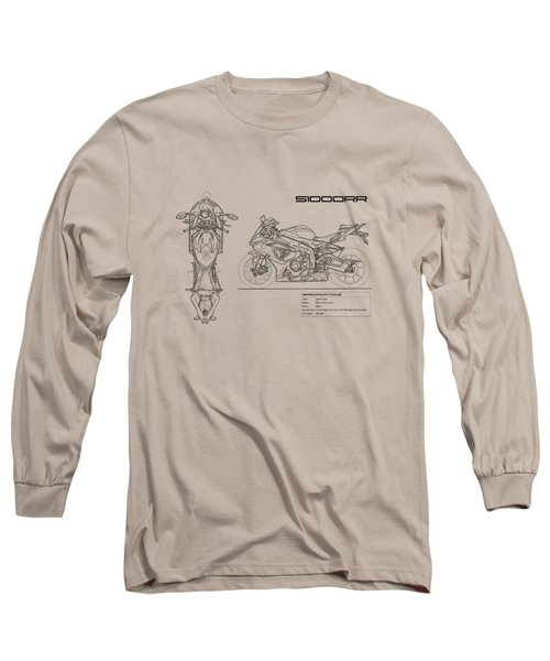 Blueprint Of A S1000rr Motorcycle Long Sleeve T-Shirt by Mark Rogan