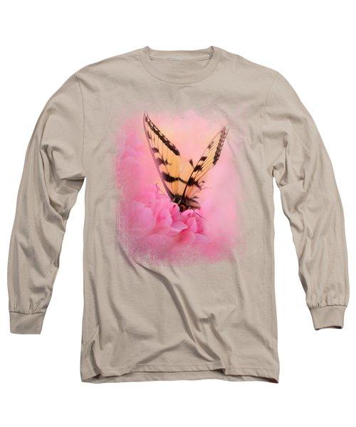Butterfly On The Azaleas Long Sleeve T-Shirt by Jai Johnson