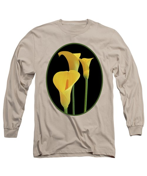 Calla Lilies - Yellow On Black Long Sleeve T-Shirt by Gill Billington