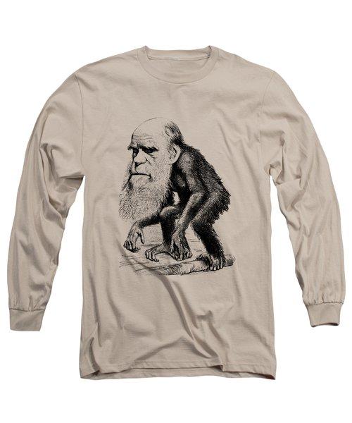 Charles Darwin As An Ape Cartoon Long Sleeve T-Shirt by War Is Hell Store