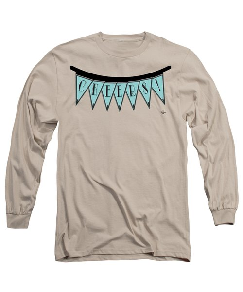 Pennant Deco Blues Streamer Sign Cheers Long Sleeve T-Shirt by Cecely Bloom