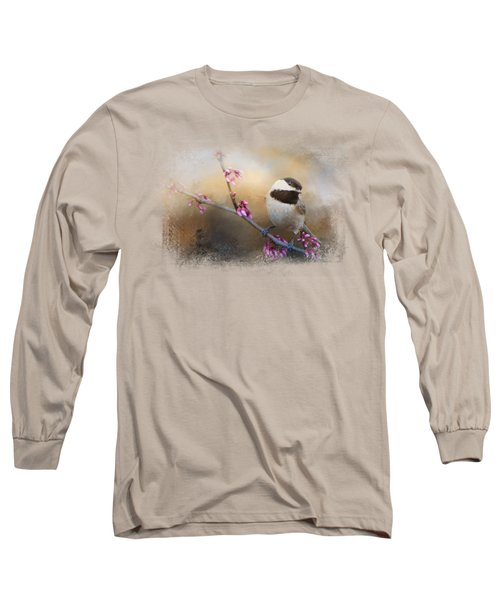 Chickadee And Pink Blooms Long Sleeve T-Shirt by Jai Johnson