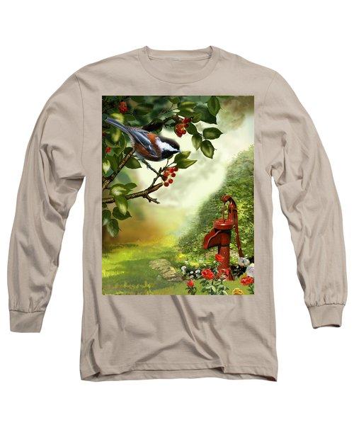 Chickadee Visiting The Water Pump Long Sleeve T-Shirt by Regina Femrite