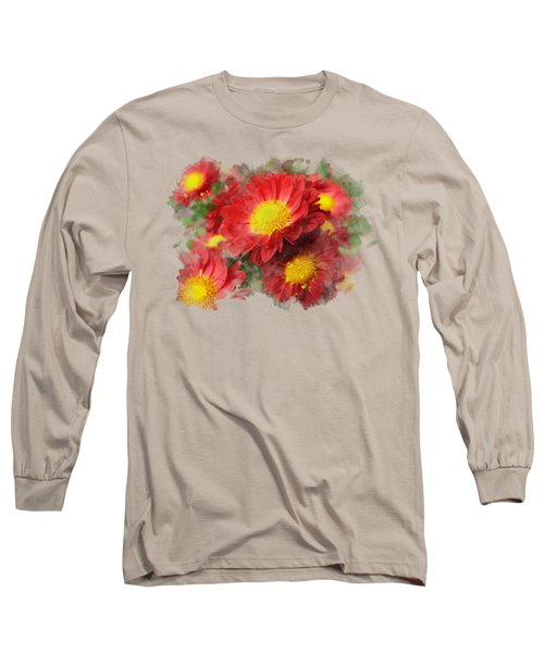 Chrysanthemum Watercolor Art Long Sleeve T-Shirt by Christina Rollo