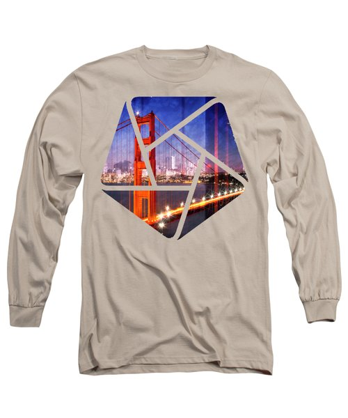 City Art Golden Gate Bridge Composing Long Sleeve T-Shirt by Melanie Viola