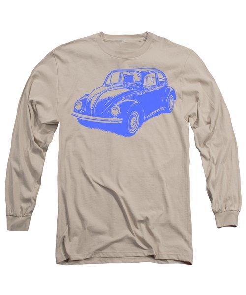 Classic Vw Beetle Tee Blue Ink Long Sleeve T-Shirt by Edward Fielding