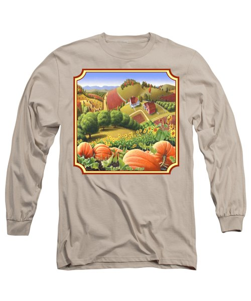 Country Landscape - Appalachian Pumpkin Patch - Country Farm Life - Square Format Long Sleeve T-Shirt by Walt Curlee