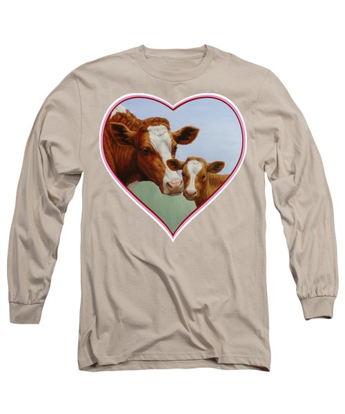 Cow And Calf Pink Heart Long Sleeve T-Shirt by Crista Forest