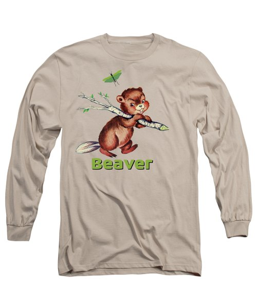 Cute Baby Beaver Pattern Long Sleeve T-Shirt by Tina Lavoie