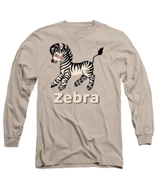 Cute Baby Zebra Pattern Vintage Book Illustration Pattern Long Sleeve T-Shirt by Tina Lavoie