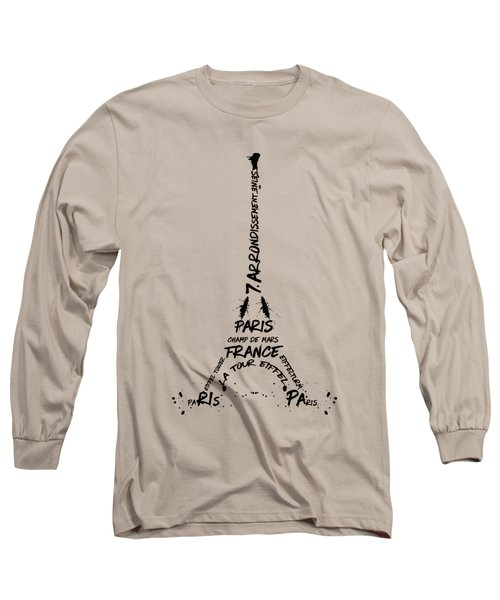Digital-art Eiffel Tower Long Sleeve T-Shirt by Melanie Viola