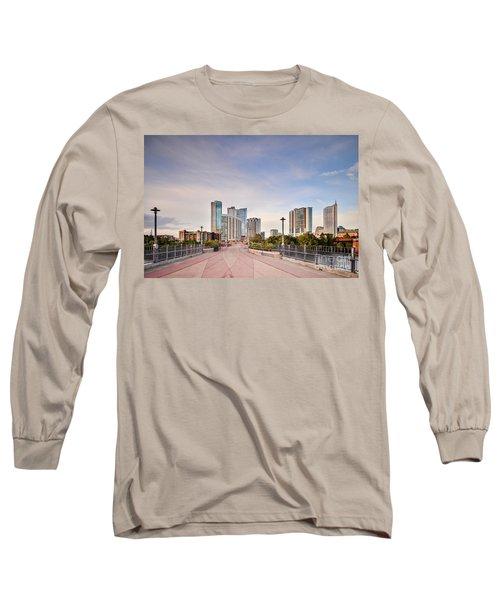 Downtown Austin Skyline From Lamar Street Pedestrian Bridge - Texas Hill Country Long Sleeve T-Shirt by Silvio Ligutti