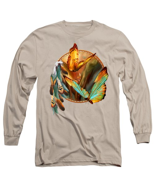 Dream Catcher - Spirit Of The Butterfly Long Sleeve T-Shirt by Carol Cavalaris