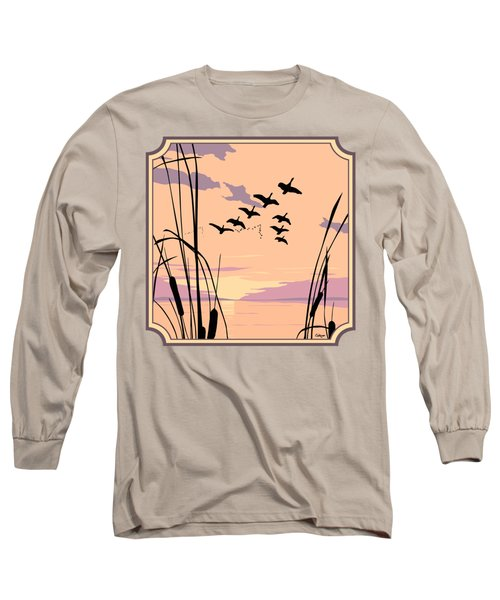 Ducks Flying Over The Lake Abstract Sunset - Square Format Long Sleeve T-Shirt by Walt Curlee