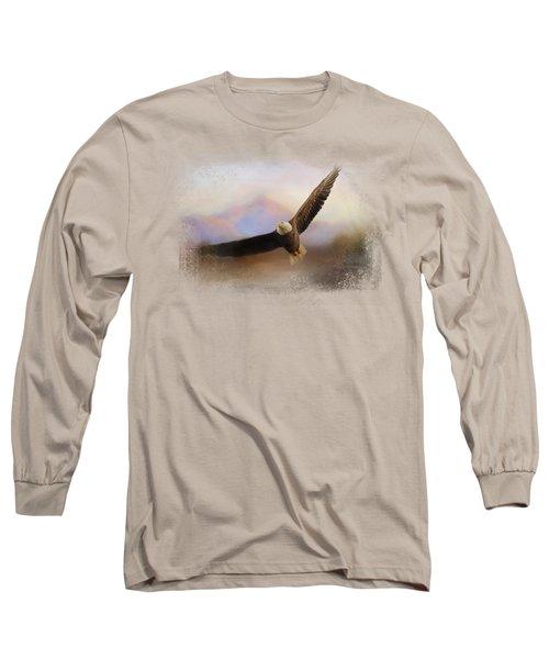 Eagle At The Mountain Long Sleeve T-Shirt by Jai Johnson
