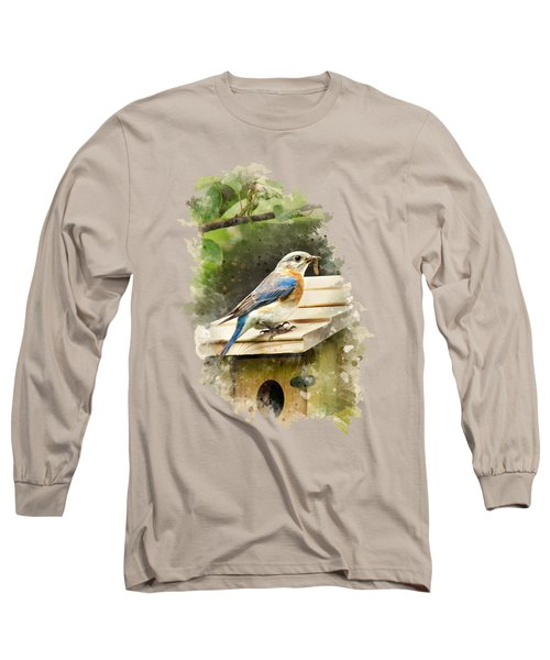 Eastern Bluebird Watercolor Art Long Sleeve T-Shirt by Christina Rollo
