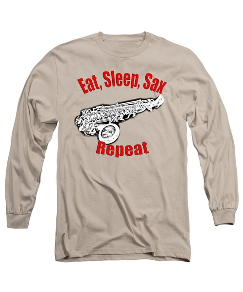 Eat Sleep Sax Repeat Long Sleeve T-Shirt by M K  Miller