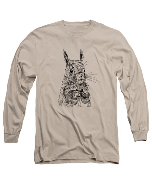 Eating Squirrel Long Sleeve T-Shirt by Masha Batkova