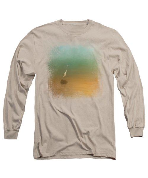Egret At Sea Long Sleeve T-Shirt by Jai Johnson
