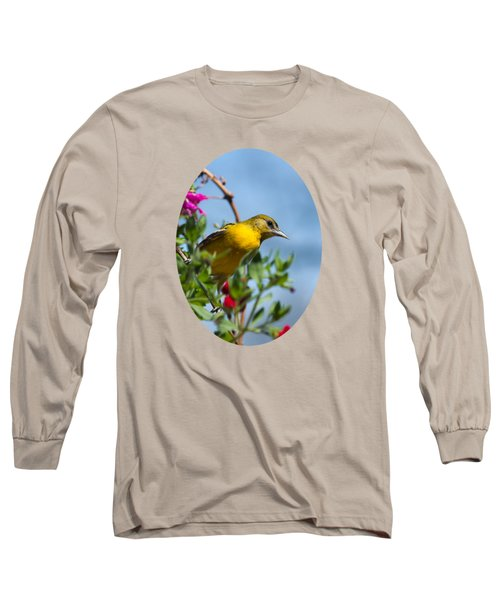 Female Baltimore Oriole In A Flower Basket Long Sleeve T-Shirt by Christina Rollo