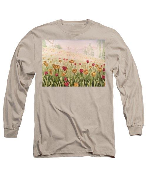 Field Of Tulips Long Sleeve T-Shirt by Kayla Jimenez